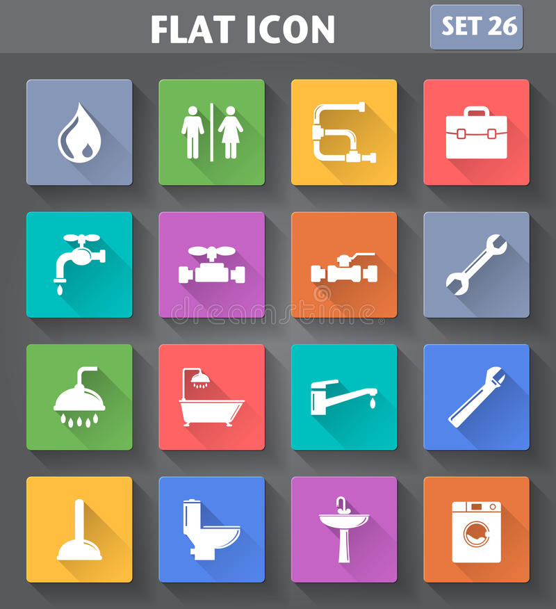 Plumbing Icons set in flat style with long shadows. Vector application Plumbing Icons set in flat style with long shadows