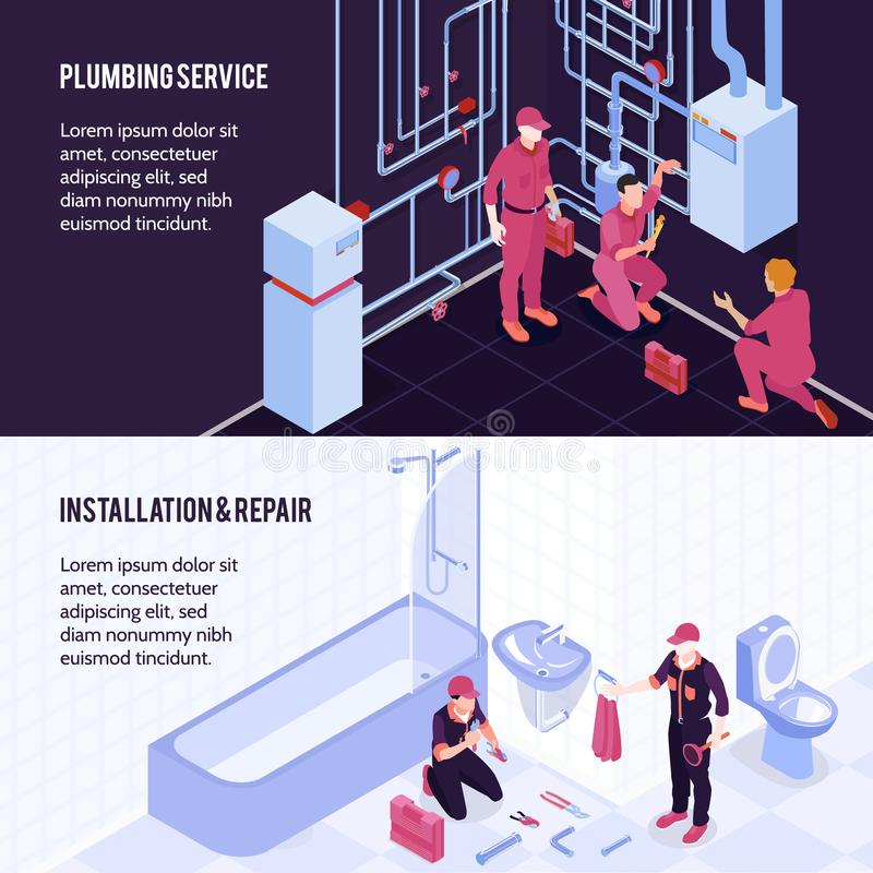 Plumbing Isometric Banners. Plumbing service boiler maintenance repair bathroom shower toilet sanitary installation 2 horizontal isometric advertising banners royalty free illustration