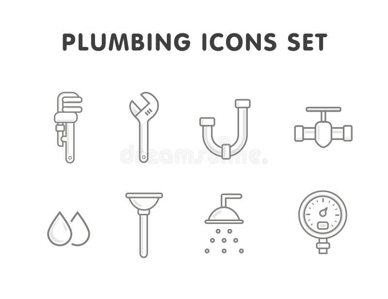 Plumbing line icons set vector illustration