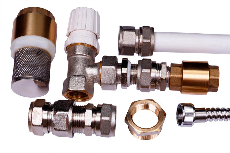 Download Plumbing Parts On A White Royalty Free Stock Images - Image: 15396949