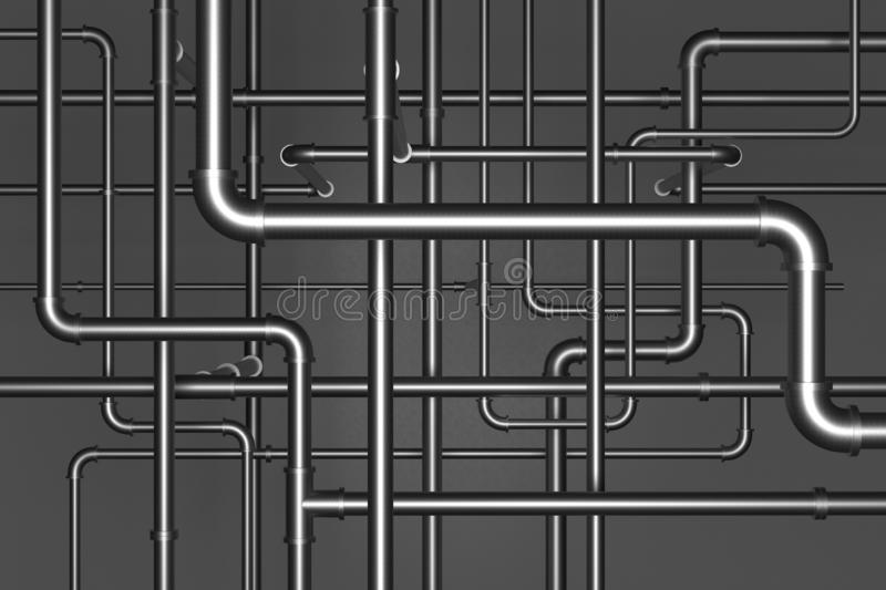 Plumbing pipes on black background 3d illustration. Plumbing metal pipes on black background 3d illustration stock illustration