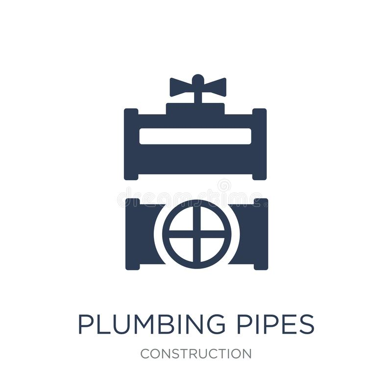 Plumbing pipes icon. Trendy flat vector plumbing pipes icon on w. Hite background from Construction collection, vector illustration can be use for web and mobile stock illustration