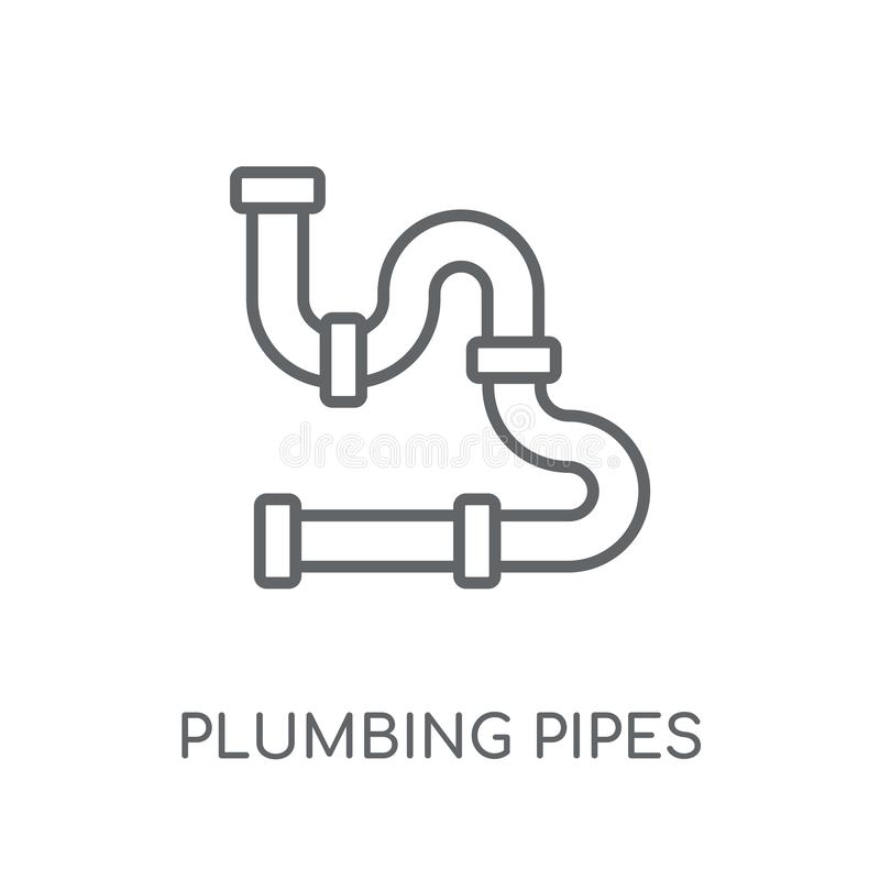 Plumbing pipes linear icon. Modern outline plumbing pipes logo c. Oncept on white background from Construction collection. Suitable for use on web apps, mobile vector illustration