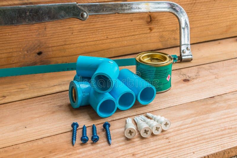 Plumbing pipes stock photo