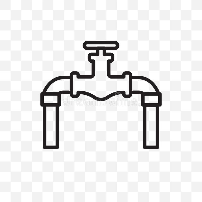 plumbing pipes vector linear icon isolated on transparent background, plumbing pipes transparency concept can be used for web and stock illustration