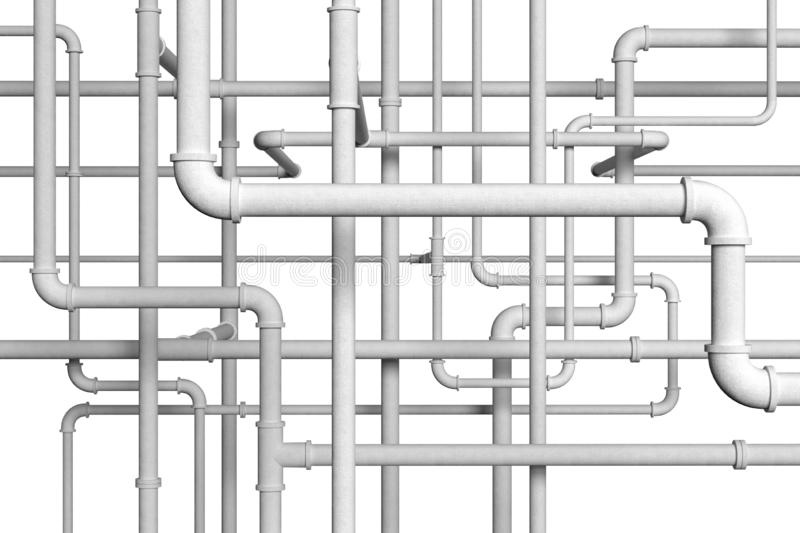 Plumbing pipes on white background 3d illustration. White plumbing pipes on white background 3d illustration royalty free illustration