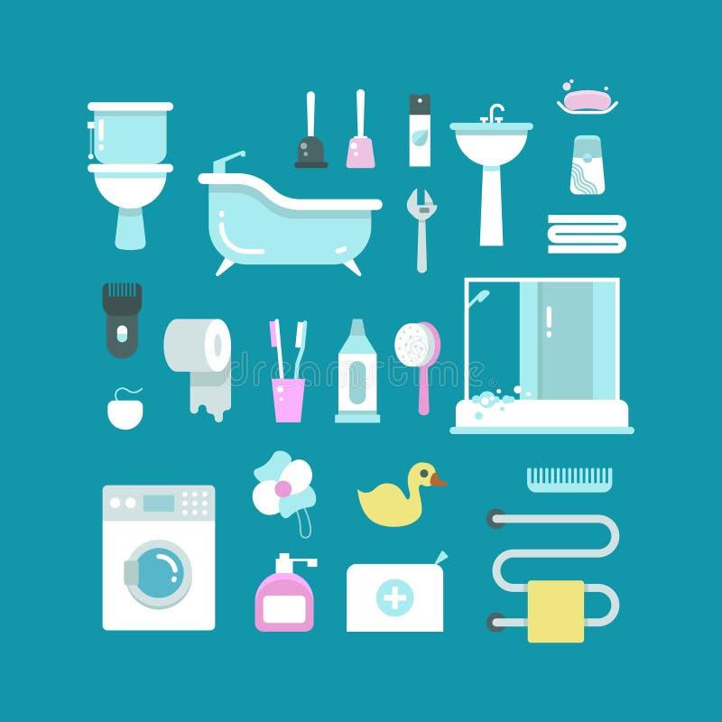 Plumbing, sanitary engineering, hygiene vector icons. Sink, toilet, piping, bathroom. Elements for bathtoom design washing machine and towel illustration stock illustration