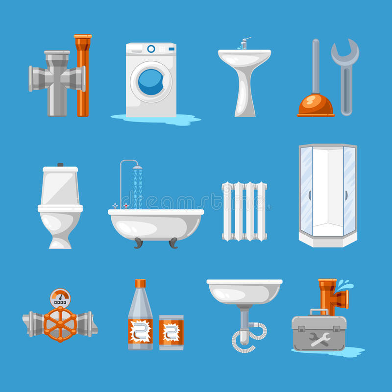 Plumbing sanitary engineering icons. Sink in toilet, piping and kitchen equipment vector illustration. Plumbing and sanitary engineering icons. Sink and toilet royalty free illustration