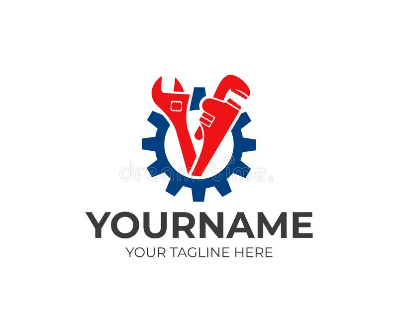 Plumbing service, gear, adjustable wrench and pipe wrench, logo design. Engineering, heavy industry and mechanical engineering, ve vector illustration