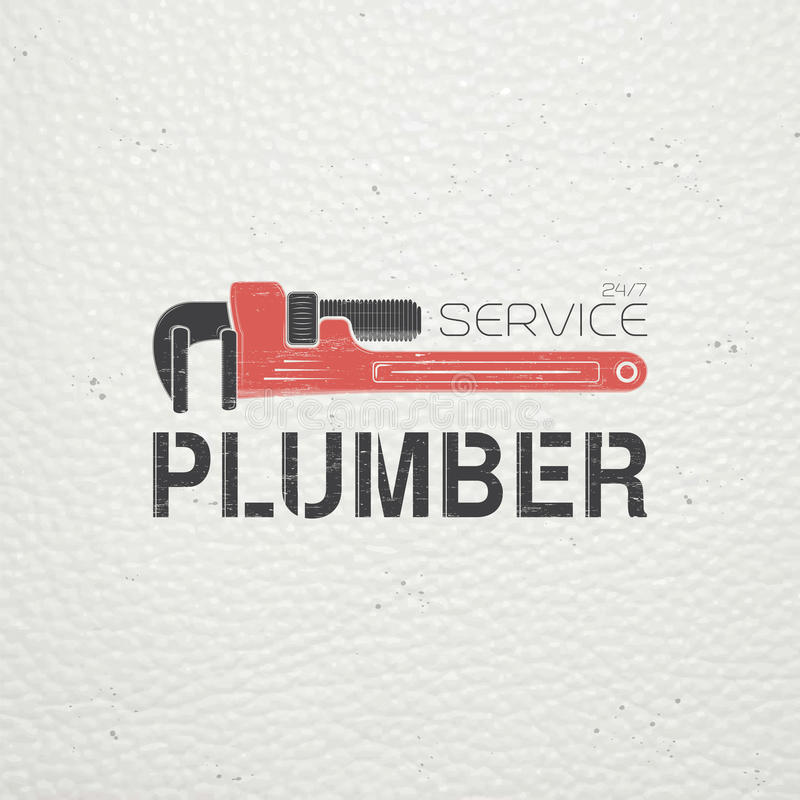 Plumbing service. Home repairs. Repair and maintenance of buildings. Monochrome typographic labels, stickers, logos and badges. Flat vector illustration royalty free illustration