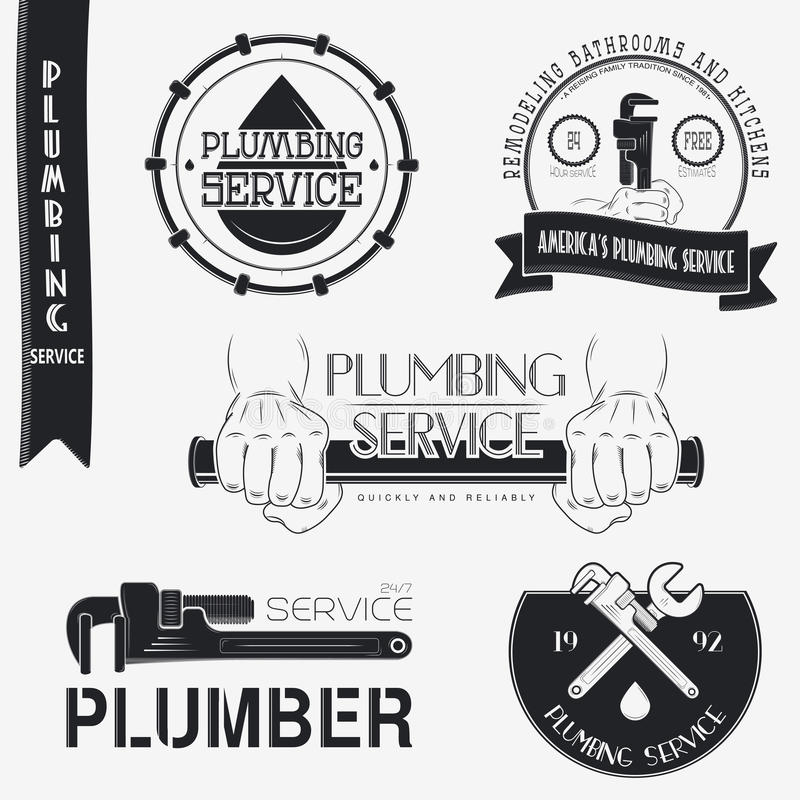 Plumbing service. Home repairs. Repair and. Maintenance of buildings. Set of Typographic Badges Design Elements, Designers Toolkit. Flat vector illustration royalty free illustration