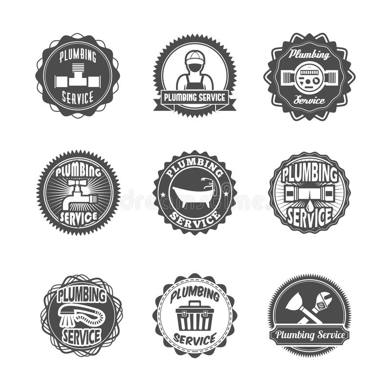 Plumbing Service Labels Stock Vector. Illustration Of