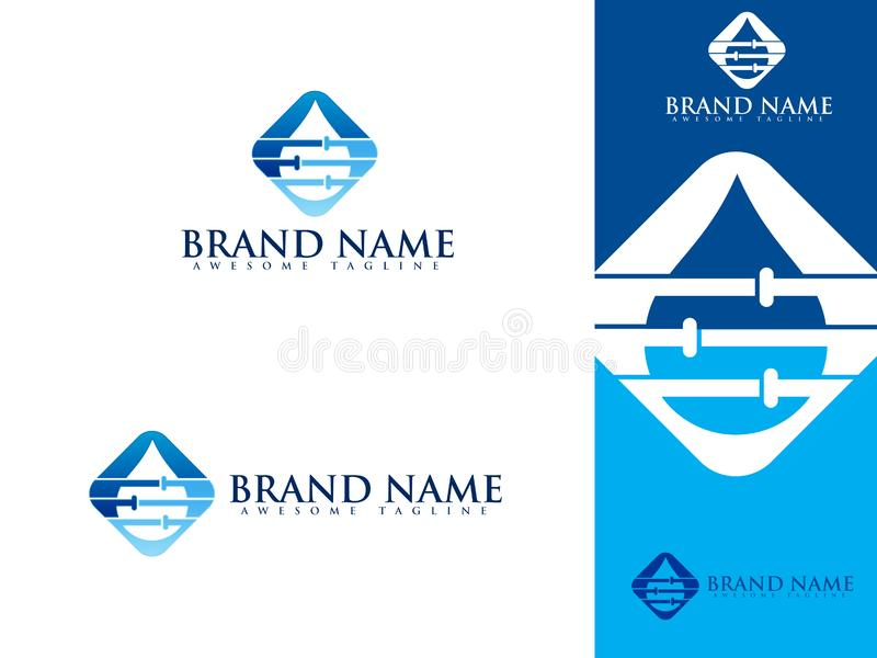 Plumbing service logo set with water and pipe stock illustration
