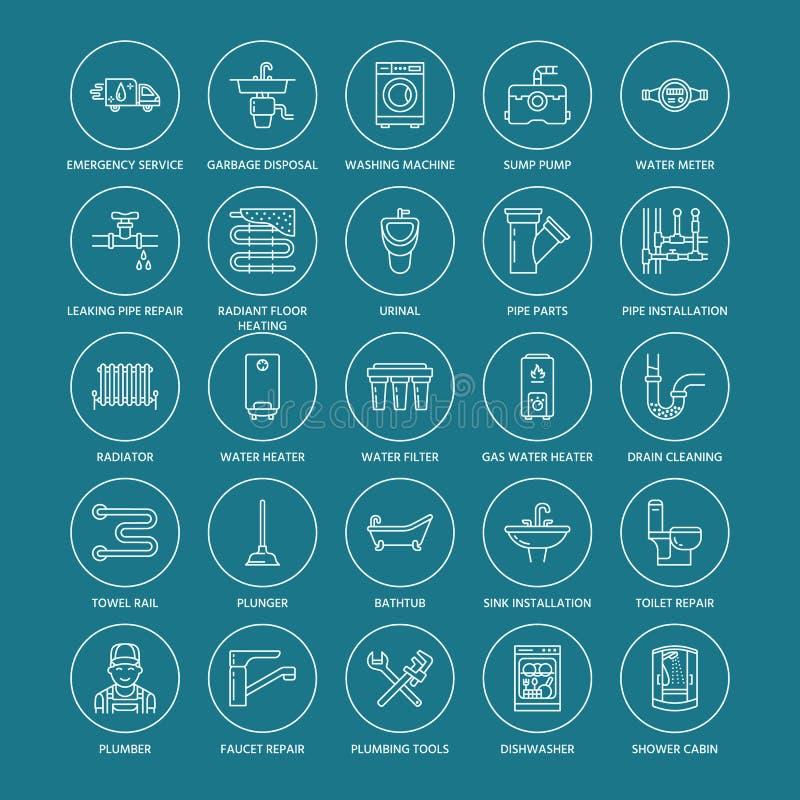 Plumbing service vector flat line icons. House bathroom equipment, faucet, toilet, pipeline, washing machine, dishwasher. Plumber repair illustration, thin stock illustration