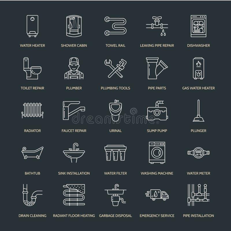 Plumbing service vector flat line icons. House bathroom equipment, faucet, toilet, pipeline, washing machine, dishwasher. Plumber repair illustration, thin vector illustration