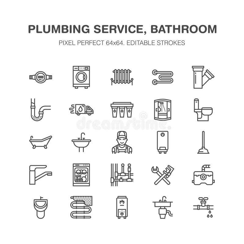 Plumbing service vector flat line icons. House bathroom equipment, faucet, toilet, pipeline, washing machine, dishwasher. Plumber repair illustration, signs royalty free illustration