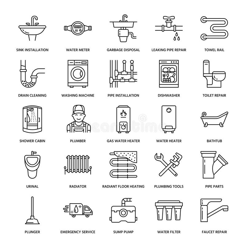 Plumbing service vector flat line icons. House bathroom equipment, faucet, toilet, pipeline, washing machine, dishwasher. Plumber repair illustration, thin royalty free illustration