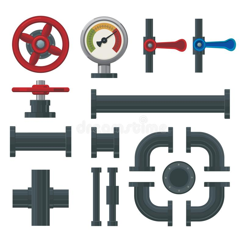 Plumbing system elements. Piping connection with preassure gauge and valves. Fuel and water industry. Plumbing system elements. Fuel and water industry. Piping vector illustration