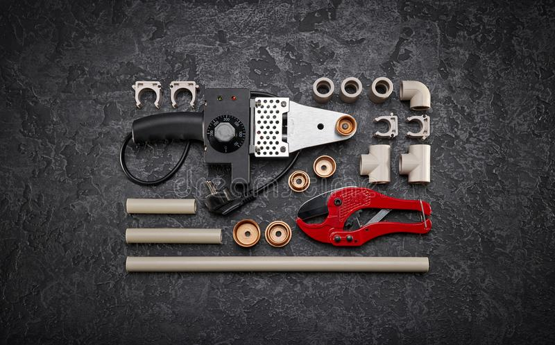 Plumbing tools and accessories stock photos