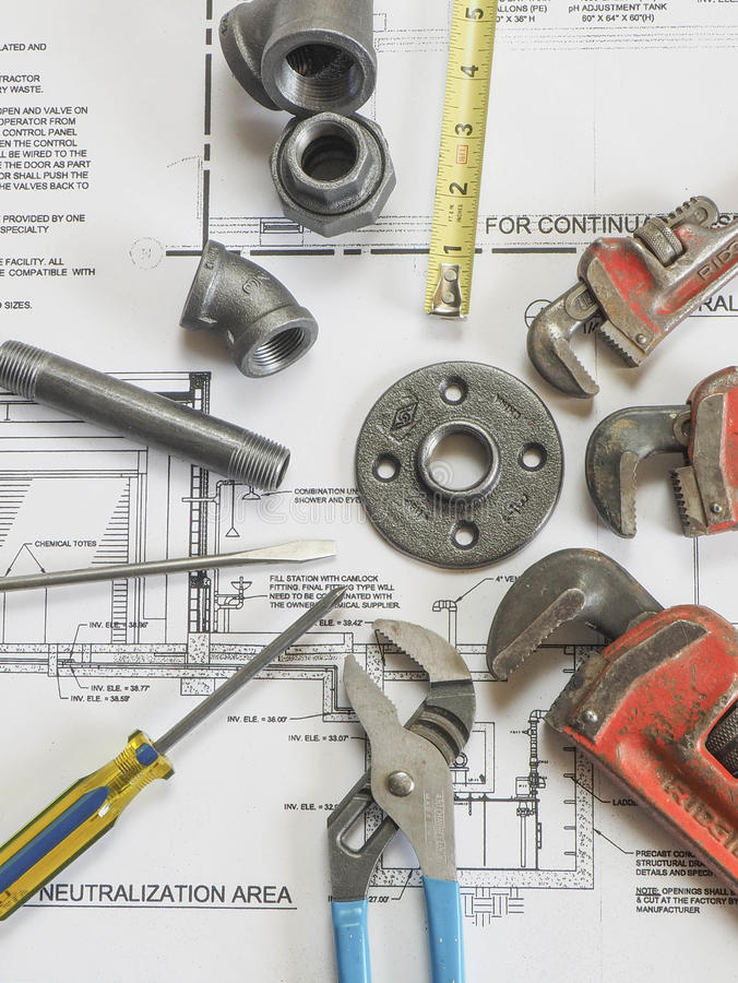 Plumbing tools on blueprints 9 royalty free stock images
