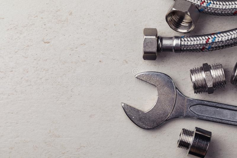 Plumbing tools for connecting water taps royalty free stock photos