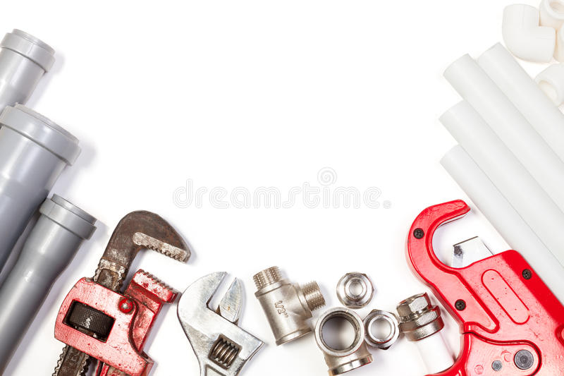 Plumbing tools supplies background stock photo image of