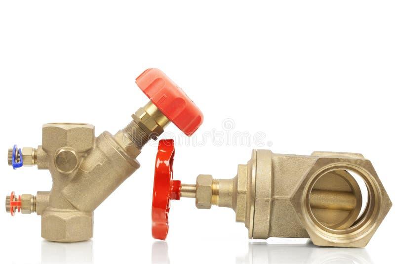Plumbing valves. On a white background stock photos