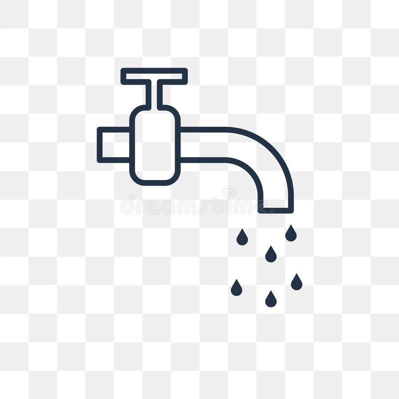 Plumbing vector icon on transparent background, linear stock illustration