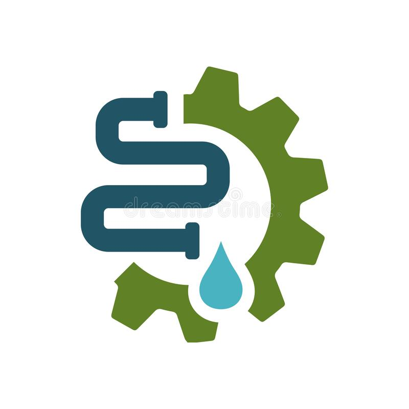 plumbing and water repair supply systems drainage logo design vector vector illustration