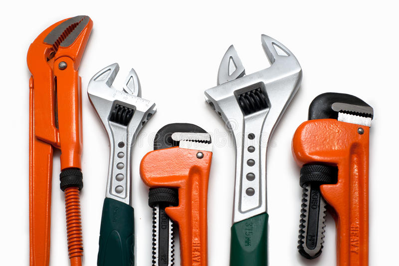 Plumbing wrenches set stock images