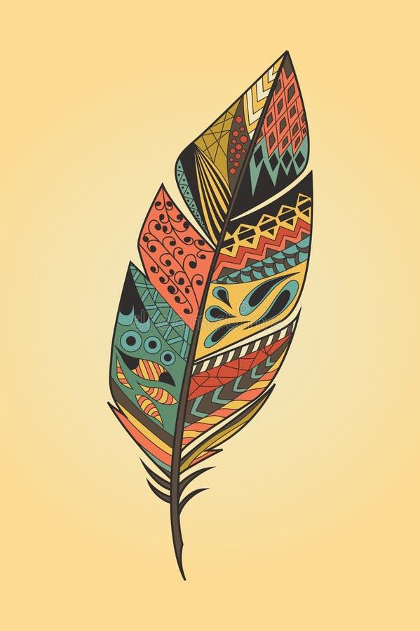 Plume colorée tirée par la main ethnique tribale de vintage illustration libre de droits