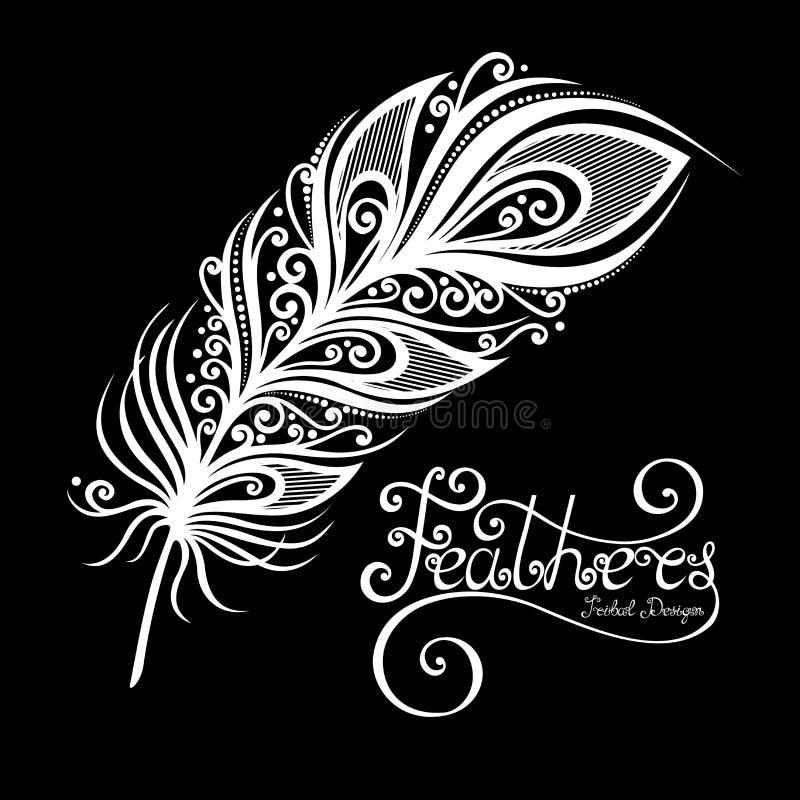 Plume décorative sans paire de vecteur illustration de vecteur