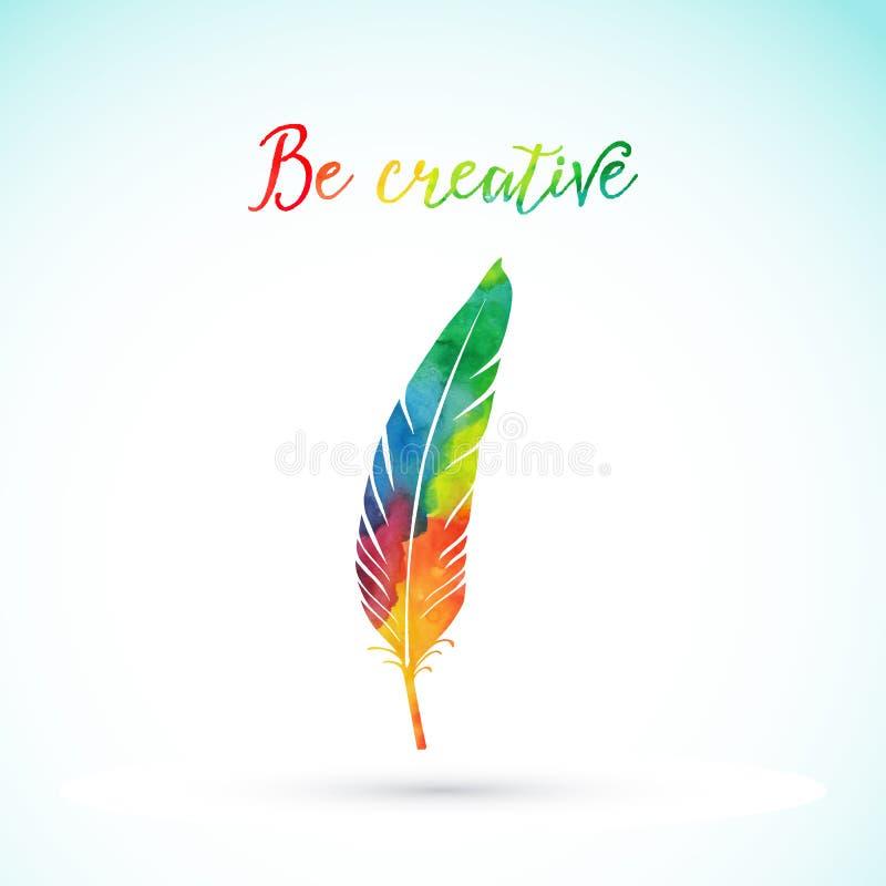 Plume d'écriture d'aquarelle de vecteur Plume colorée de vecteur Silhouette d'aquarelle de plume illustration stock