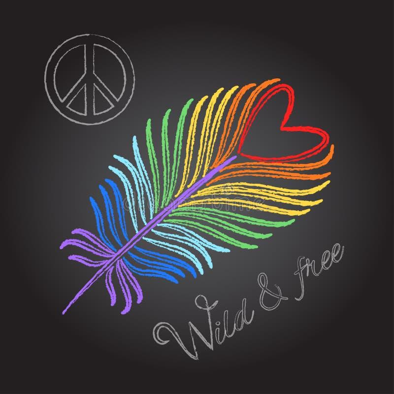 Plume d'arc-en-ciel et texture colorée de dessin de craie de signe de paix sur le fond noir illustration de vecteur