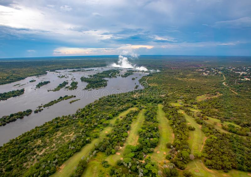 Plume of the famous Victoria Falls in Zimbabwe. During summer royalty free stock photo
