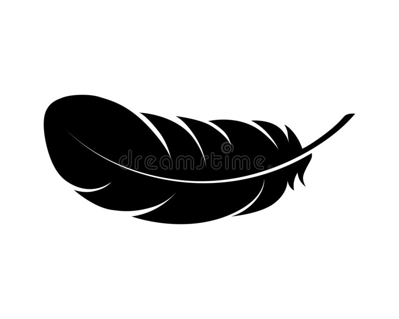 Feather of bird graphic black icon. royalty free illustration