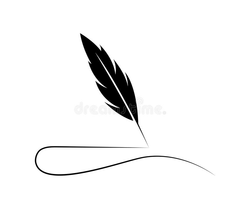 Plume Quill Logo illustration stock