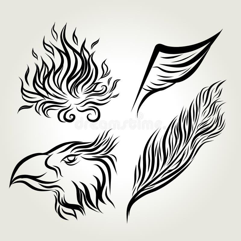 Plume tirée par la main d'aile d'Eagle d'encre illustration stock