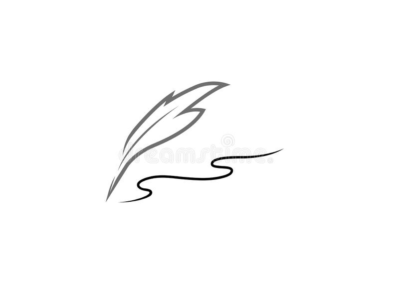 Plume write with a quill for logo design illustration stock illustration