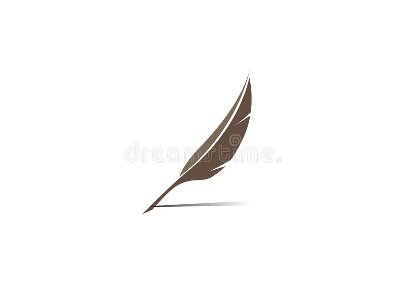 Plume write with a quill logo stock illustration