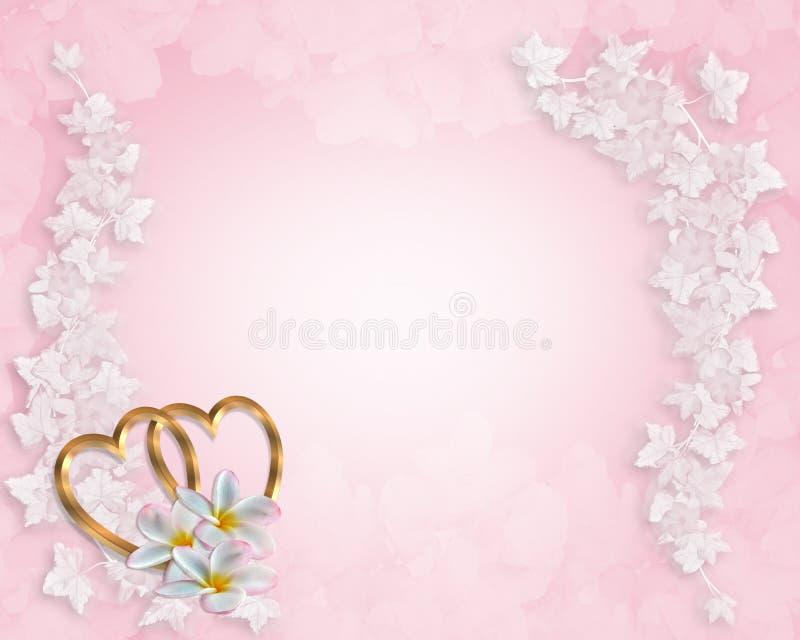 Plumeria del color de rosa de la invitación de la boda stock de ilustración