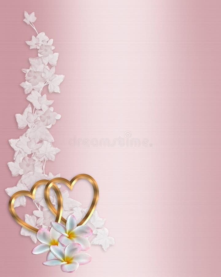 Plumeria di colore rosa dell'invito di cerimonia nuziale illustrazione vettoriale