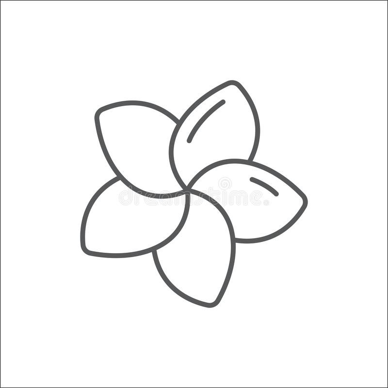 Plumeria editable outline icon - pixel perfect symbol of tropical flower in thin line art style. Plumeria editable outline icon - pixel perfect symbol of vector illustration