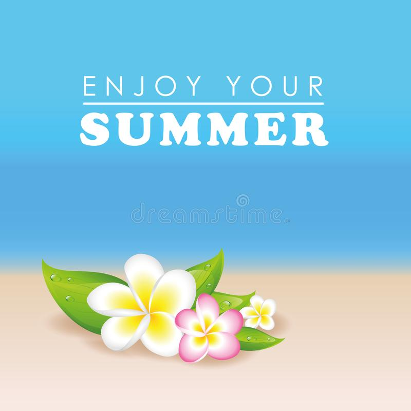Plumeria esotica dei fiori del frangipane sul fondo della spiaggia di estate illustrazione vettoriale