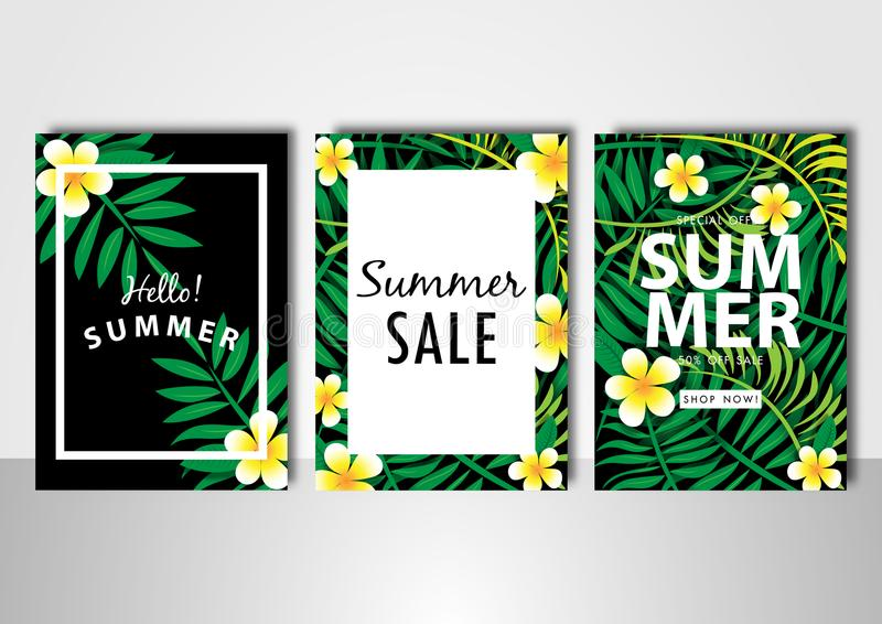 Plumeria flower and green leave summer sale background vector illustration sale off template. Yellow plumeria flower and green leave summer sale background stock illustration