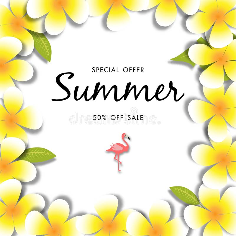 Plumeria flower and green leave summer sale background vector illustration sale off template. Summer sale template, special discount stock illustration