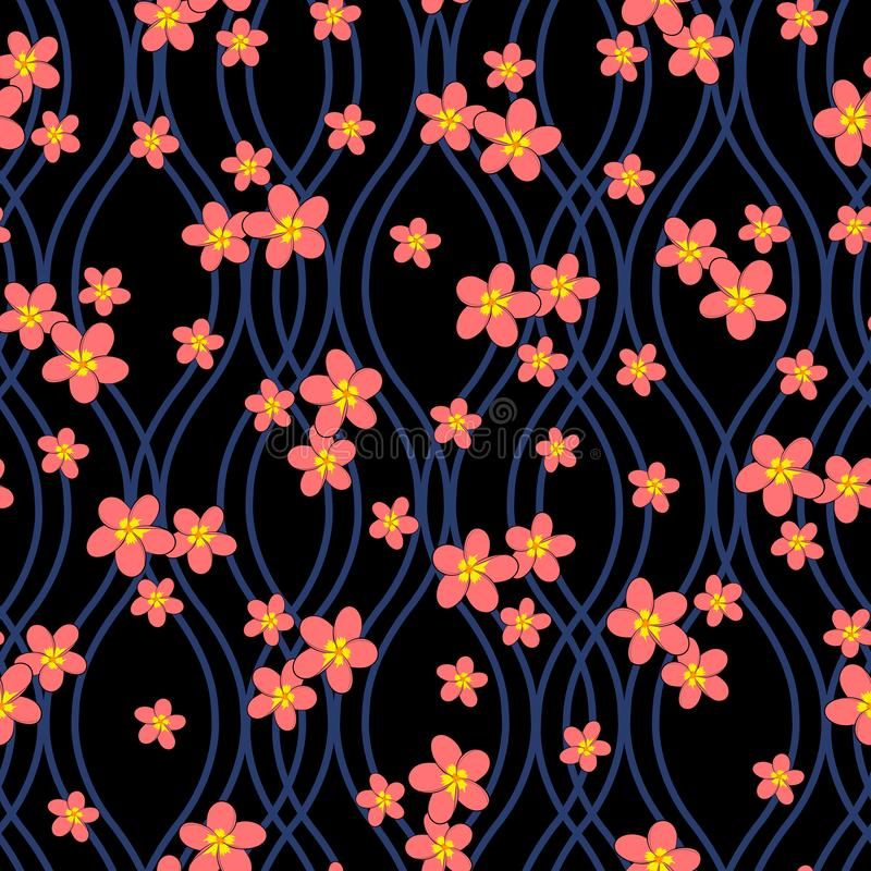 plumeria flowers on dark blue wavy mesh with black background seamless repeat pattern vector illustration