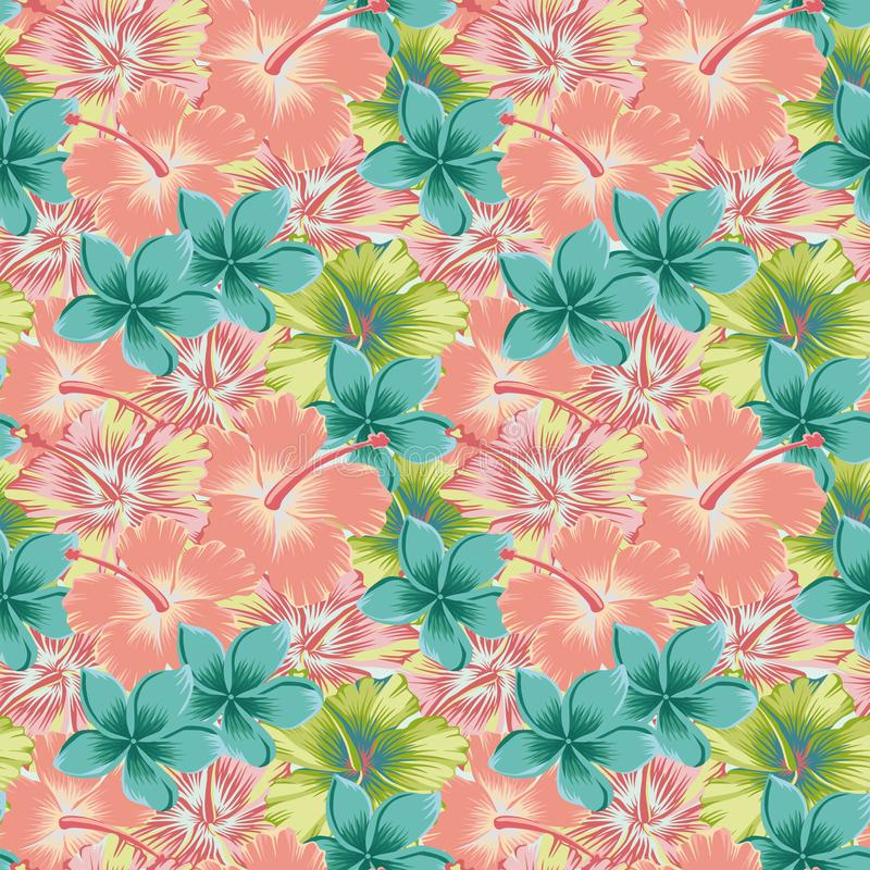 Plumeria hibiscus abstract color seamless background stock illustration