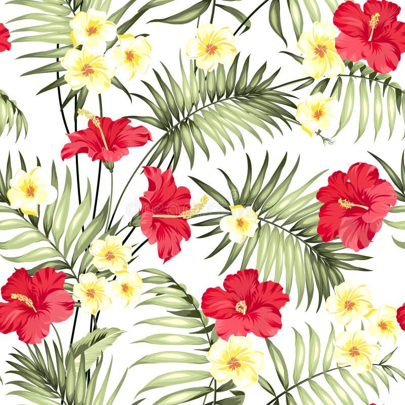 Plumeriabloemen en wildernispalmen royalty-vrije illustratie