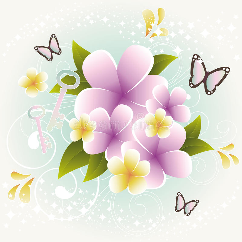 Plumerias in Vintage Style. With design elements stock illustration